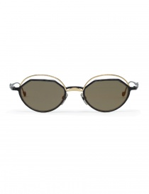 Glasses online: Kuboraum Maske H70 metal gold and black sunglasses