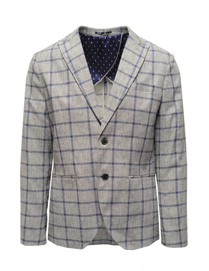 Selected Homme jacket with grey and blue squares 16067388 GREY/BLUE mens suit jackets online shopping