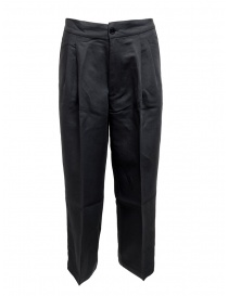 Womens trousers online: European Culture navy plated trousers