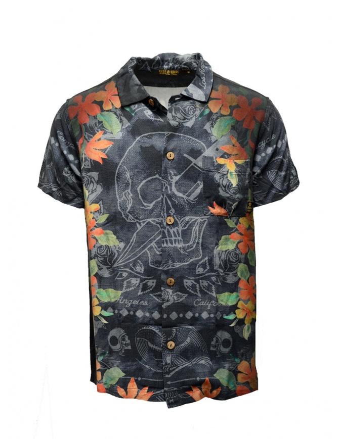 Camicia Rude Riders teschio con spiaggia Waikiki R03222 73999 camicie uomo online shopping