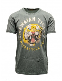 T shirt uomo online: T-shirt Rude Riders Hawaian Tiger colore salvia