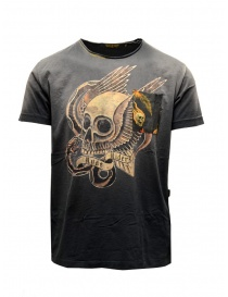 Mens t shirts online: Rude Riders black T-shirt with gold winged skull