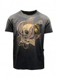 T-shirt Rude Riders nera teschio dorato con ali R03204 10009 BLACK order online