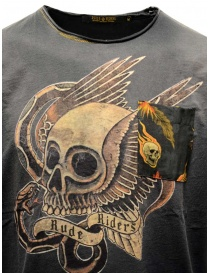 Rude Riders black T-shirt with gold winged skull