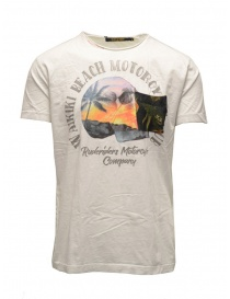 Mens t shirts online: Rude Riders white t-shirt with skull and beach