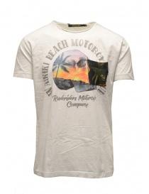 T-shirt Rude Riders bianca con teschio e spiaggia R03200 84025 WHITE