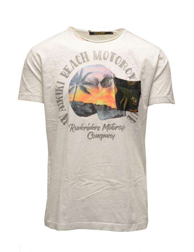 T-shirt Rude Riders bianca con teschio e spiaggia R03200 84025 WHITE t shirt uomo online shopping
