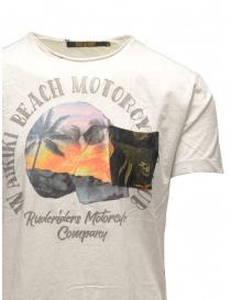 T-shirt Rude Riders bianca con teschio e spiaggia prezzo