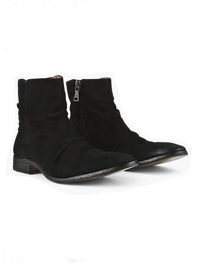 Stivaletto John Varvatos in pelle scamosciata nera F1158Q2 Y783 001 BLACK calzature uomo online shopping