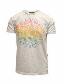 Mens t shirts online: Rude Riders ivory t-shirt with stancil rainbow skull