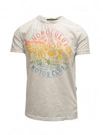 T-shirt Rude Riders avorio con stancil teschio arcobaleno R03008 84025 WHITE