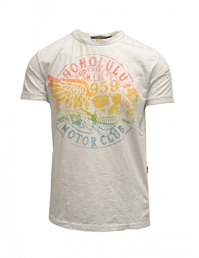Rude Riders ivory t-shirt with stancil rainbow skull R03008 84025 WHITE mens t shirts online shopping