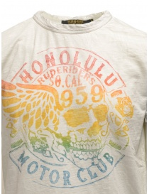 Rude Riders ivory t-shirt with stancil rainbow skull