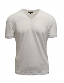Mens t shirts online: John Varvatos white T-shirt in linen