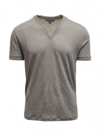 T-shirt John Varvaton grigia in lino K736N4 QL6 063 PEWTER order online