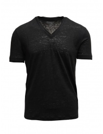Mens t shirts online: John Varvatos black T-shirt in linen