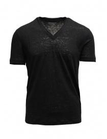 T-shirt John Varvatos nera in lino online