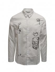 Camicie uomo online: Camicia John Varvatos bianca con disegni