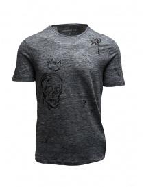 T-shirt John Varvatos grigia con disegni online
