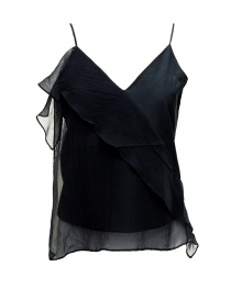 Women s tops online: European Culture black top with frills
