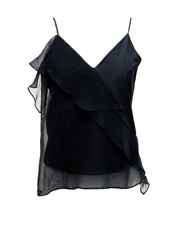 Canotta European Culture nera con svolazzi 38R0 7549 1508 canotte donna online shopping