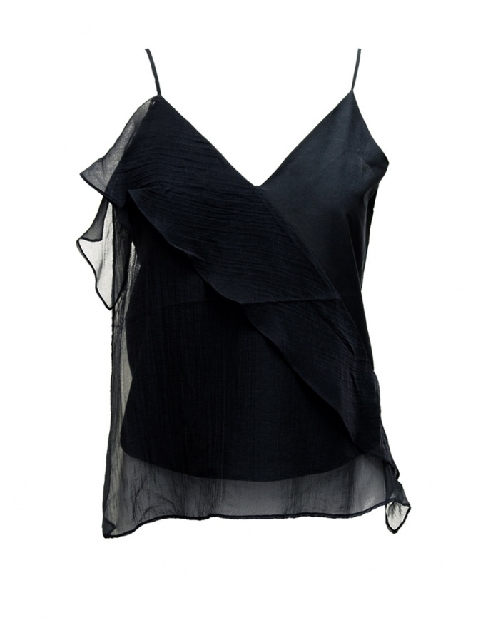European Culture black top with frills 38R0 7549 1508 women s tops online shopping