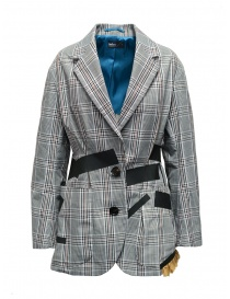 Womens suit jackets online: Kolor jacket with black stripes and white checkered pattern