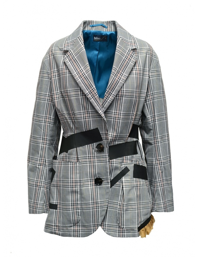 Kolor jacket with black stripes and white checkered pattern 19SCL-J01156 WHITE CHECK womens suit jackets online shopping