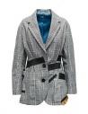 Giacca Kolor con bande nere e fantasia a quadri bianca acquista online 19SCL-J01156 WHITE CHECK