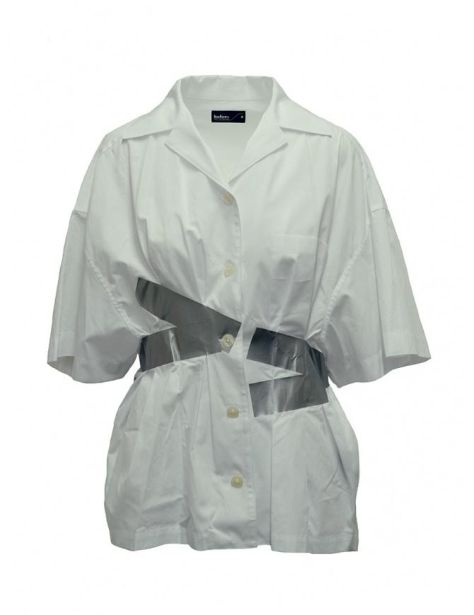 Camicia Kolor bianca a bande argento 19SCL-B03151 WHITE camicie donna online shopping