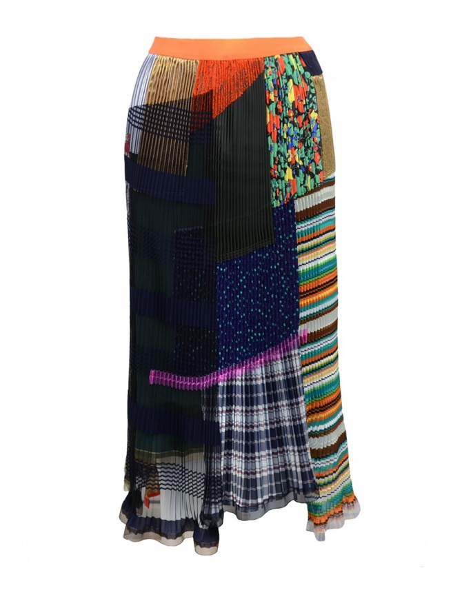 Kolor pleated skirt with patchwork 19SCL-S02151 MIDDLE TONE womens skirts online shopping