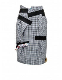 Kolor skirt with blue white black checkered pattern 19SCL-S04154 BLUE CHECK