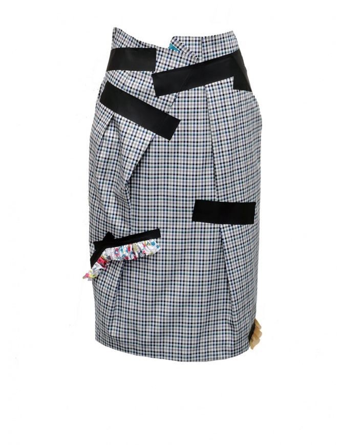 Kolor gonna con quadri blu bianchi neri 19SCL-S04154 BLUE CHECK gonne donna online shopping