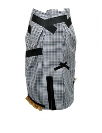 Kolor skirt with blue white black checkered pattern