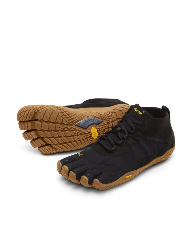 Scarpa nera Vibram Fivefingers con suola marrone 18M-W7401 V-TREK FIVEFINGERS calzature uomo online shopping