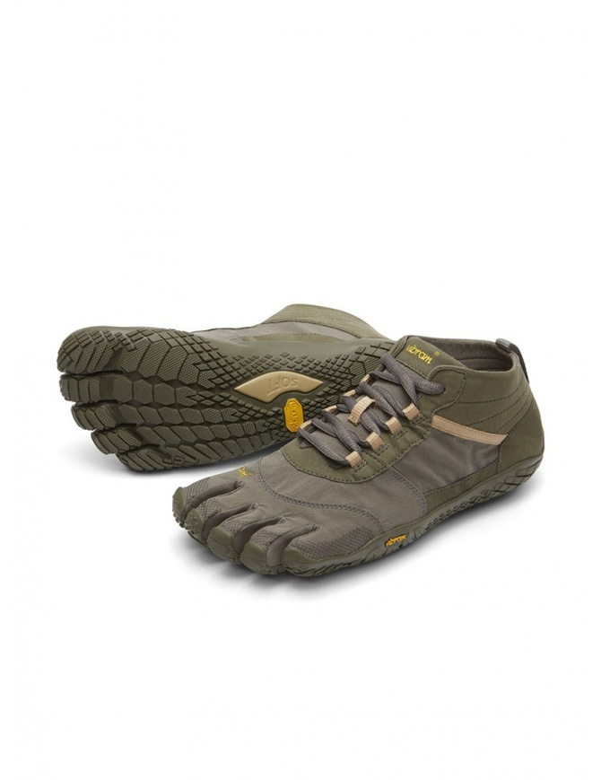 Vibram Fivefingers V-TREK men's army green and grey shoes 18M-W7402 V-TREK FIVEFINGERS mens shoes online shopping