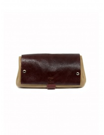 Delle Cose bordeaux and beige calf leather wallet online