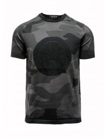 Mens t shirts online: Ze-Knit by Napapijri black and grey camouflage T-shirt Ze-K124