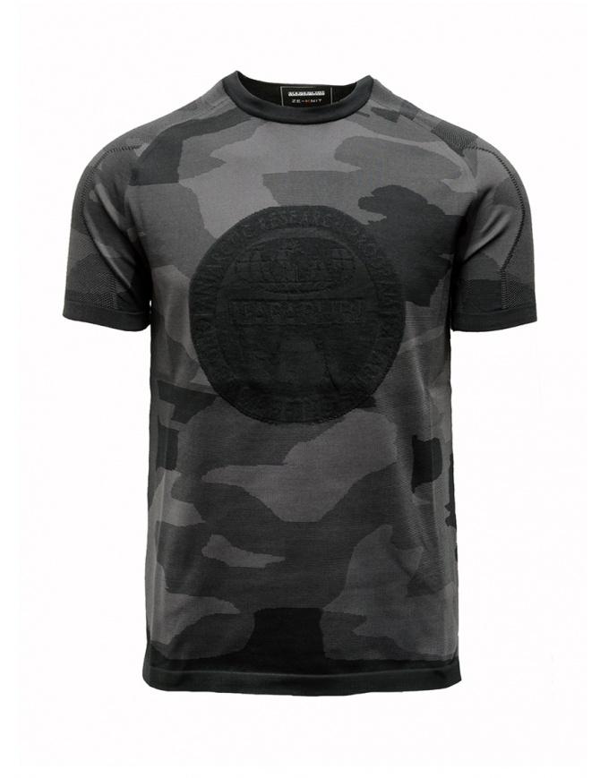 Ze-Knit by Napapijri black and grey camouflage T-shirt Ze-K124 N0YIOVM07 ZE-K124 MULTICOLOR mens t shirts online shopping