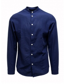 Mens shirts online: Selected Homme dark blue corean collar shirt