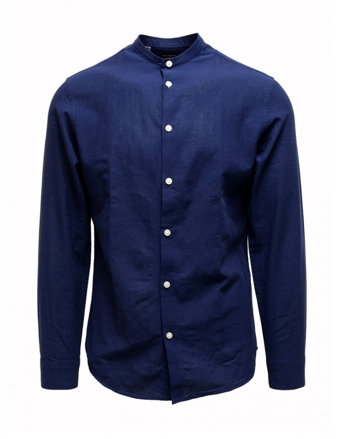 Camicia Selected Homme collo coreana blu scura 16067894 DARK BLUE camicie uomo online shopping
