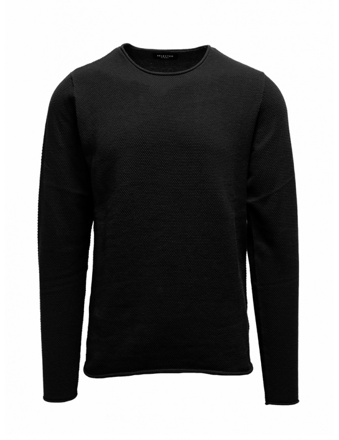 Selected Homme black sweater BLACK 16062814 SLHROCKY mens knitwear online shopping