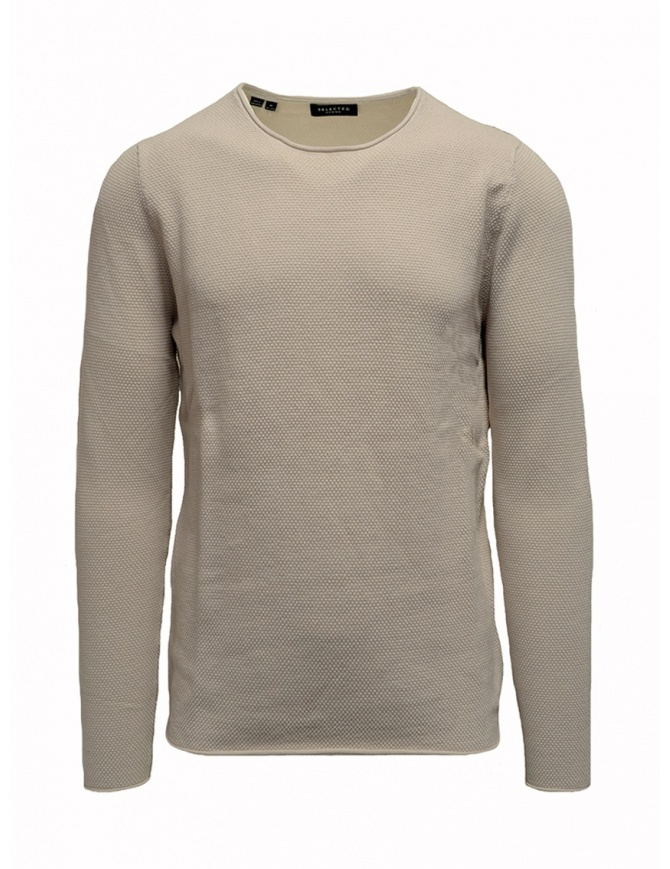 Maglione Selected Homme bianco crema 16062814 SLHROCKY CREW NECK maglieria uomo online shopping