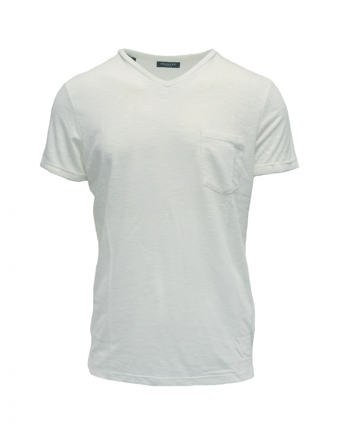 Selected Homme bright white T-shirt 16067625 BRIGHT WHITE mens t shirts online shopping