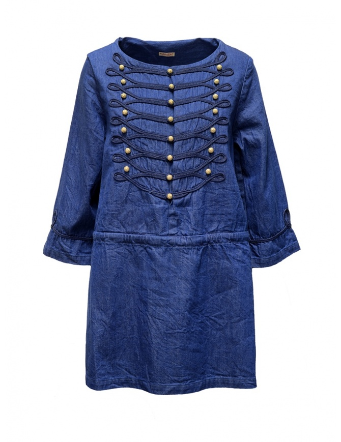 Kapital indigo short dress with golden buttons K1903LS016 IDG womens dresses online shopping