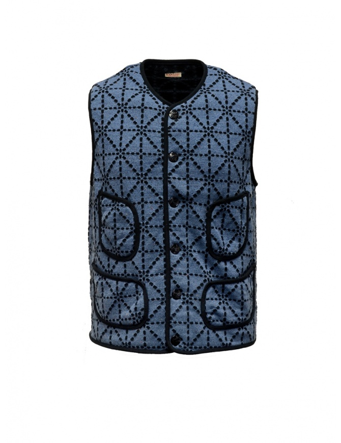 Kapital vest blue and black with pockets K1810SJ092 BLUE mens vests online shopping