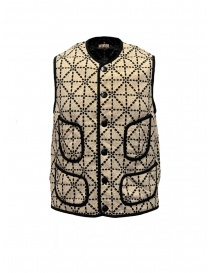 Mens vests online: Kapital vest beige and black with pockets