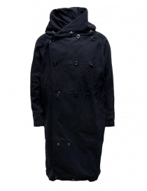 Mens coats online: Kapital black coat with multiple closures