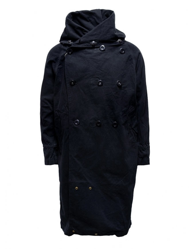 Kapital black coat with multiple closures EK-447 BLACK mens coats online shopping
