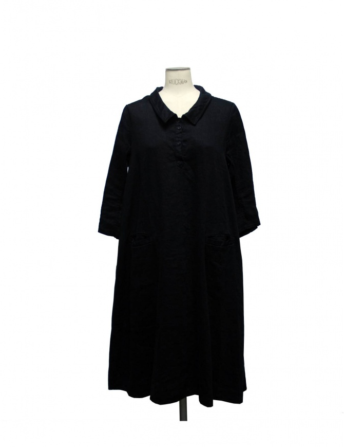 Abito nero Casey Vidalenc in lino e cotone FR 209 BLK abiti donna online shopping